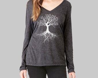 Tree of Life, Long Sleeve Tshirt, Tree Shirt, v neck tshirt, womens, long sleeve shirt, graphic tees for women, v neck shirt