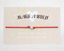 Wish bracelet super tiny star make a wish bracelet wishing bracelet waxed cotton cord little star