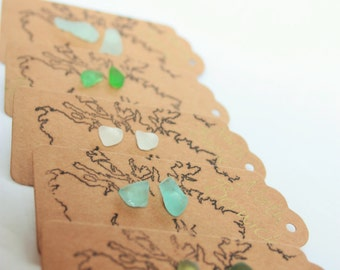 MULTI COLOUR STUDS / Scottish sea glass earrings / small sea glass studs / Scottish sea glass handmade studs / Scotland ByRois