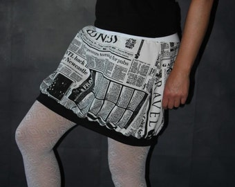 balloon skirt black and white skirt newspaper imprint short size S - L