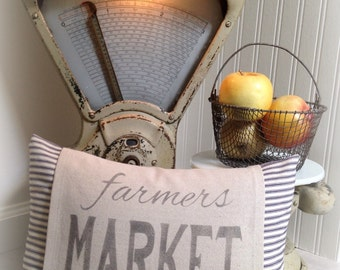 Pillow Cover, Farmers Market, Farmhouse, Vintage Style, Ticking, Stripe