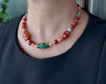 Lampwork Glass Necklace, Lampwork Beads Necklace, Vintage Glass Necklace, Tribal, Vintage Czech glass Necklace, Antique Glass Beads (598)