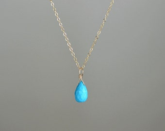 Turquoise Necklace, Turquoise Natural Gemstone Personalized Necklace, December Birthstone: 14K Gold Filled, Rose Gold, Sterling Silver