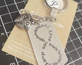Hand Stamped Army Tag with Charms