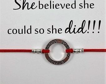 Courage Bracelet | She Believe She Could Card | Courage Friendship Bracelet | BFF Bracelet | Gift for Her