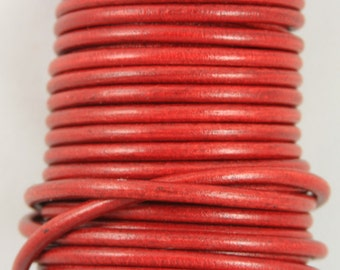 "MADE IN SPAIN 2 feet (24""/61CM) red round leather cord, 5mm round leather cord, (5ANIROJ)"