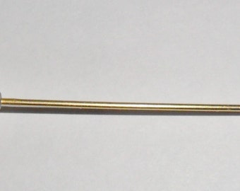 Fab long vintage 1940s goldtone red and clear glass hatpin
