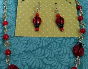 Cutesy Ladybug Necklace and earring set