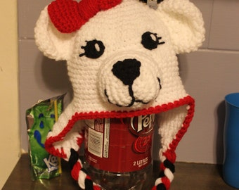 Handmade Crocheted Canadian Polar Bear Hat -  custom made to order