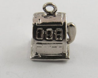 """Old Slot Machine """"One Arm Bandit"""" Sterling Silver Charm or Pendant."""