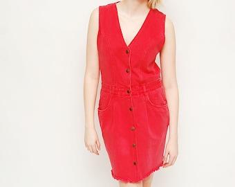 Vintage 90s Red Dress - Grunge, Blossom, Denim, All Week Long, Size 8, Jumper