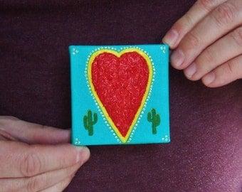 Desert Sage Heart - acrylic and desert sage on small unframed canvas