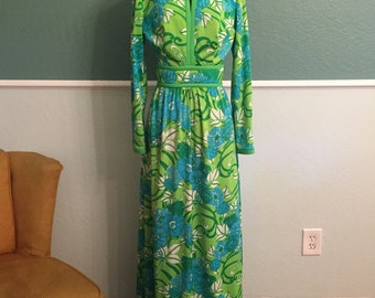1960s 1970s Floral Maxi Dress Keram New York