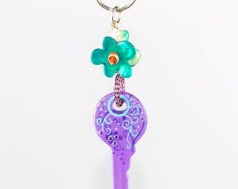 Key Ring 'Purple Key'