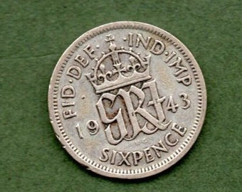 Great Britain. 1943 .Geo V1. 6d Coin
