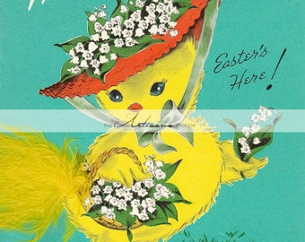 Digital Download Printable - Vintage Easter Yellow Chick Sister Greeting Card Image - Paper Crafts Scrapbook Altered Art - Cute Easter Card
