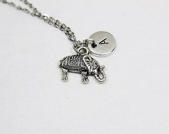 Elephant Pendant Charm Necklace, Elephant Jewelry, Personalized Elephant Gift, Silver Elephant Pendant ,Indian Elephant Charm Necklace