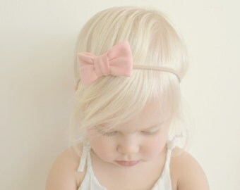 Baby Girl Headband - Peachy-Pink Mini Bow Headband - Infant Headband