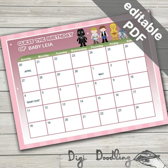 star wars baby shower game due date calendar game editable instant