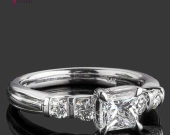 5 Stone Diamond Ring, Solitaire Princess Cut Diamond Ring, 1.35 TCW, Diamond Engagement Ring, 14k White Gold Jewelry