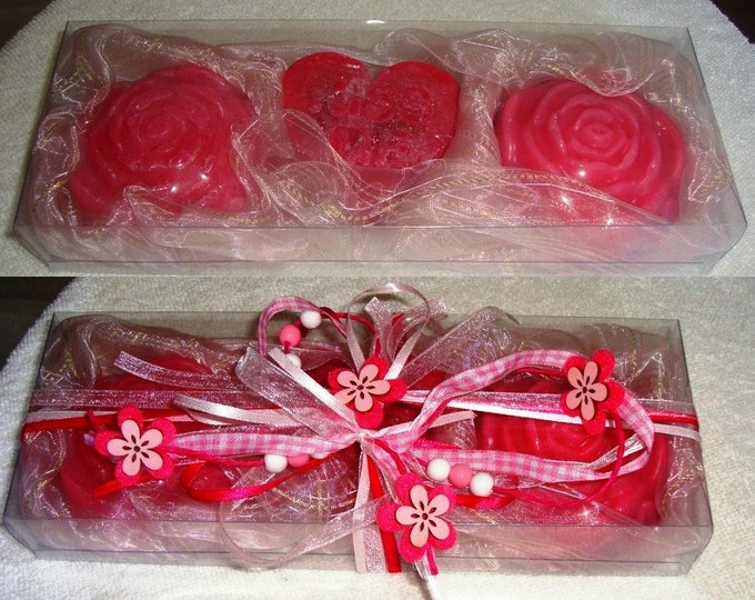 Boxed Pink Handmade Gift Set, Luxury Glycerin Soap, Summer Gift, Beauty Gift Pack, Graduation Gift, Birthday Gift, Gift for Her, Party Gift