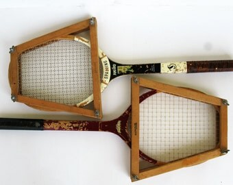 Vintage Wood Tennis Rackets Spalding Wilson with Press Athletic Wall Decor