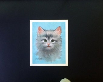 Fuzzy Kitten - Charming Color Print - Cuddly Kitten - Florence Kroger - Donald Art Company - No ..3553 - Vintage 1961 - Gray Kitten