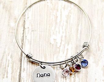 Charm Bracelet - Bangle Bracelet - Birthstone Bracelet - Custom Bracelet - Hand Stamped Bracelet - Bracelet for Mother - Bracelet for Gramma