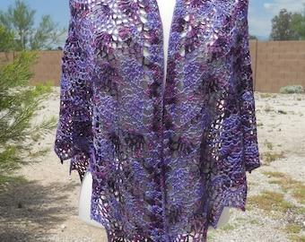 Purple Fan Motif Variegated Cotton Triangular  Crocheted Shawl