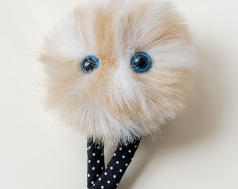 Gold Fuzzy Face Brooch - a wearable furry friend with spotty legs