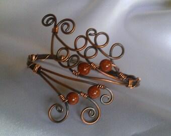 copper bracelet , natural beads bracelet , wire wrapped bracelet , handmade bracelet