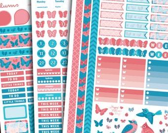 June Planner Stickers   PRINTABLE Instant Download   EC June Kit Planner Stickers   Butterfly Stickers   Birds   Fits Erin Condren June