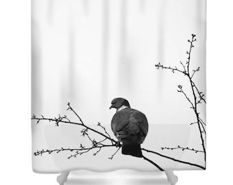 Bird shower curtain, black and white, pigeon, art shower curtain, minimalist, photo shower curtain, bathroom decor, matching bath set, tree