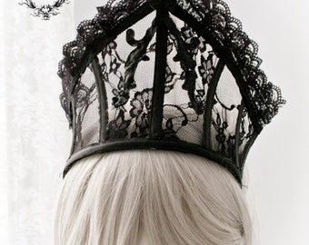 Black lace ornament headpiece-Gothic couture headpiece-boned headpiece-lace headpiece-gothic crown