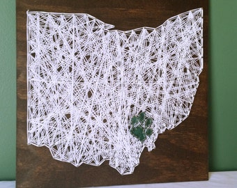 Ohio University String Art Sign, Pawprint Over Athens, Made to Order
