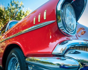 "Hot Rod Beauty ""Red Chevy"" 1957 Chevrolet Fender Fine Art Photograph (9.5"" x 13.25"" Digital Print on 14"" x 18"" Board and Mat)"