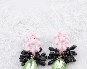 Chandelier earrings Bridal jewelry Vintage style earrings Pink and green earrings Vintage style   earrings Long earrings Wedding Earrings