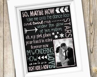 First Dance Wedding Song Lyrics Art Gift ~ Printable Anniversary Gift Wedding Gift ~ Personalized Lyrics Custom Lyrics Print ~ JPEG File