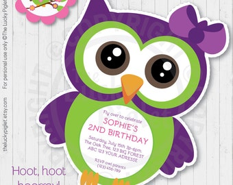 OWL INVITATION, VIOLET Owl Party Invitation, Owl Baby Shower Invitation, Owl Party Printables - Instant Download, Edit Text in Adobe Reader