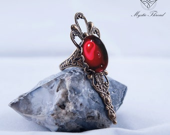 Ruby gem gothic victorian ring-gothic ring-victorian ring-ruby ring-adjustable ringgothic jewelry-victorian jewelry