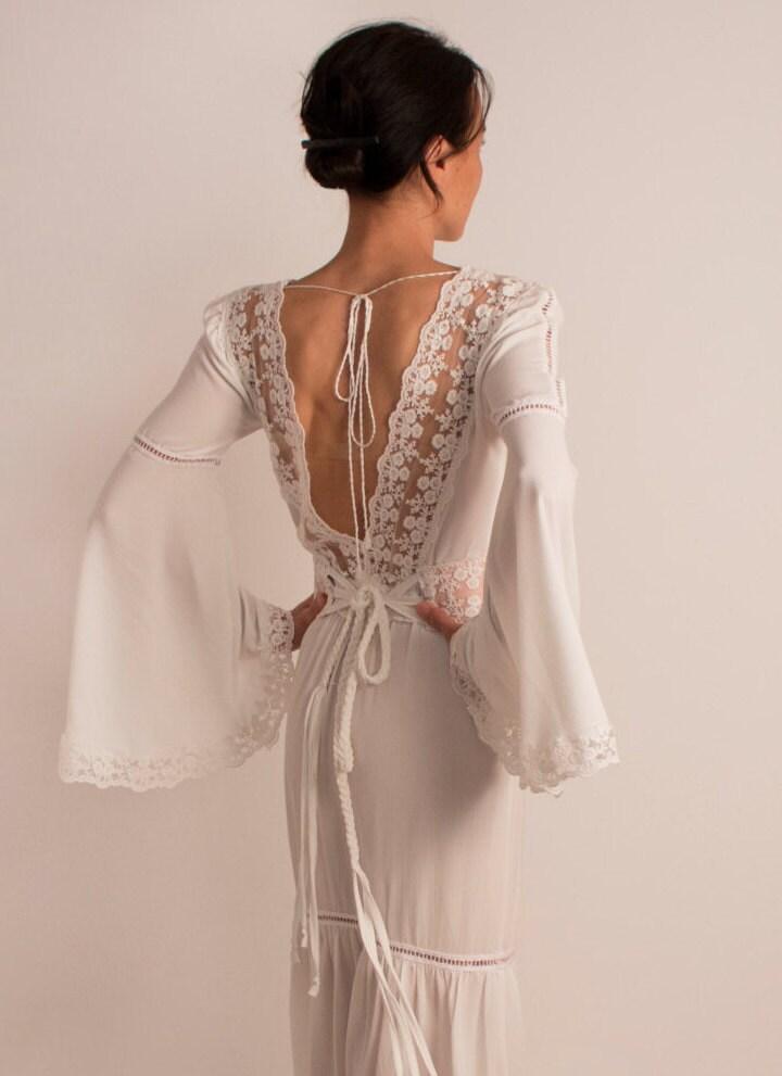Rustic wedding dress bell sleeves boho wedding dress by for Bell sleeve wedding dress