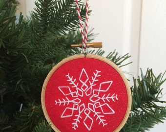 Christmas Tree Ornament, Snowflake, Embroidery Hoop Ornament, Hand Embroidered Ornament, Winter Wonderland, Holiday Decor