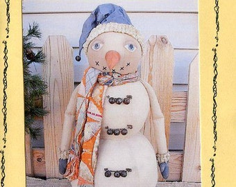 FREE US SHIP R&K Creations Primitive Jingles the Snowman Designer Karen Nieforth  2001 Out of Print Old Store Stock Sewing Pattern Uncut