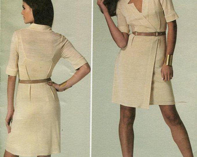 Free Us Ship Vogue 1285 Sewing Pattern American Designer Tracy Reese Notch Neck Dress Size 8 10 12 14, 14 16, 16 18 20 22 24 Bust 31-46