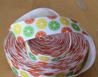 """Summertime Grosgrain Ribbon 1"""", lemon slice, lime slice, orange slice, lemonade ribbon"""