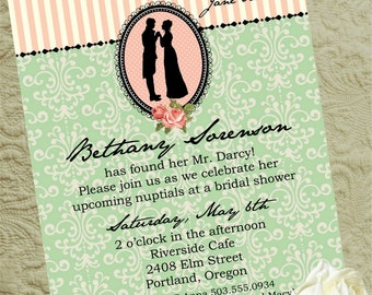 Jane Austen Bridal Shower,  Bridal Shower Invite, Printable Invitation, Printable Bridal Shower Invitation