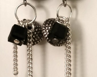 Earrings long chains and beads charms