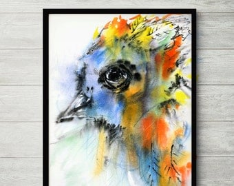 The AutumnBird, colorful abstract art, watercolor painting, bird abstract, abstract art, indigo abstract art