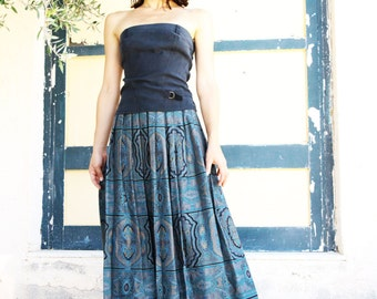 Vintage black green blue petrol beautiful ethnic calf pleated skirt with lace details.size L-XL