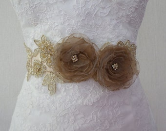 Wedding Sash, Champagne Sash, Bridal Sash, Bridal Belt, Wedding Lace Sash, Bridal Dress Belt, Bridal Flower Sash